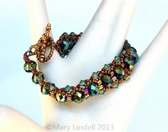 Green and gold beaded bracelet - Mary Lindell Artisan Jewelry