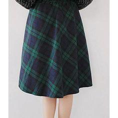 Autumn Style Scottish Plaid Skirt Women Warm Elastic Hight Waist Skater Pleated Skirt Knee Length Casual Chic 3 Colors
