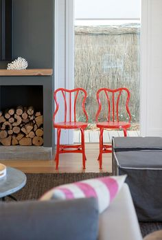 hare + klein beach house - adding a bit of colour Decor, Funky Furniture, Funky Chairs, Red Dining Room, Living Room Design Inspiration, House Styles, Fireplace Parts, Beach House Chairs, Interior Design