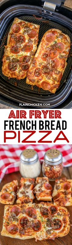 Homemade Air Fryer French Bread Pizza - a million times better than the frozen stuff! Super easy to make and ready to eat in minutes. French bread, pizza sauce, mozzarella cheese, and pizza toppings. Air Fryer Oven Recipes, Air Fry Recipes, Air Fryer Dinner Recipes, Cooking Recipes, Cooking Okra, Vegetarian Cooking, Easy Cooking, Meat Recipes, Chicken Recipes