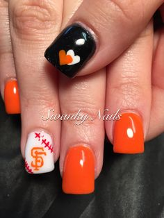 SF Giants nail art https://www.facebook.com/shorthaircutstyles/posts/1760247814265658