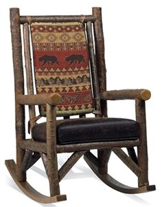 Bear Creek Rocking Chair found in our rustic chairs at home furniture design ideas. Lodge Furniture, Rustic Living Room Furniture, Western Furniture, Timber Furniture, Furniture Chairs, Furniture Ideas, Rustic Rocking Chairs, Rustic Chair, Rustic Decor
