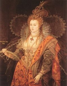 """Elizabeth I: The Rainbow Portrait. Painted ca. 1600 when she was in her 60's and is attributed to Isaac Oliver. The most symbolic painting of the Queen, the ageless Elizabeth appears dressed as if for a masque… wearing symbols out of the popular emblem books: the cloak with eyes and ears, the serpent of wisdom, the celestial armillary sphere, and carries a rainbow with the motto non sine sol iris (""""no rainbow without the sun"""")."""