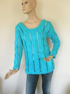 Hey, I found this really awesome Etsy listing at https://www.etsy.com/listing/233713003/turquoise-hand-knitted-blouse