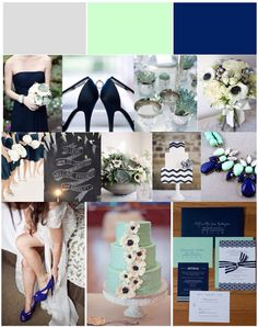 Mint, Gray, Navy Wedding Color Scheme. Rose gold instead of that sea green.