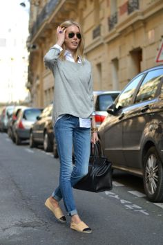 Jeans + white shirt + grey sweater