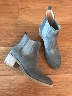 d68e6b4874d Gorgeous grey real suede block heel ankle boots with elasticated panel for  comfort. Pier One