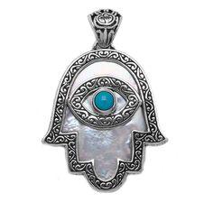 Samuel B. Sterling Silver Mother of Pearl & Sleeping Beauty Turquoise Hamsa Pendant
