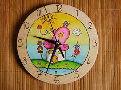 Hand painted pyrography wall clock