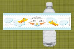 Printable Airplane Birthday Party Water Bottle Label (Customized) from the Jet on Over Party Collection by skm designs