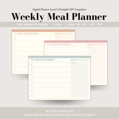 Weekly Meal Planner and Grocery List, Digital Planner Insert, Printable Meal Planner Meal Planner Template, Meal Planner Printable, Weekly Meal Planner, Printables, Cooking Cream, Competitor Analysis, Grocery Lists, Planner Inserts, Meals For The Week
