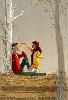 72 Places And People Illustration Ideas - Art Love Cartoon Couple, Cute Couple Art, Cute Couples, Paar Illustration, Couple Illustration, Digital Illustration, Wallpaper Casais, Image Couple, Pascal Campion