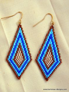 Colorful Seed bead earrings diamond shaped brick stitch delica beads - indigo blue, sky blue, brown and golden. $18.00, via Etsy.