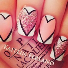 Great nails for valentines day!! Maybe do this to just the ring finger!