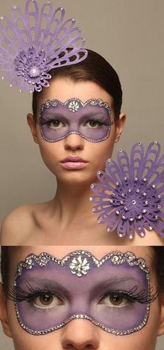 ✿ a repin of DIY Halloween makeup on a young woman, in colors of violet and lavender, with an eye mask and hairpiece