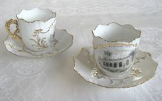 "Pair of Victorian ""A Present from St. Neot Church"" souvenir china cups and saucers (SOLD) - www.vanishederas.com"
