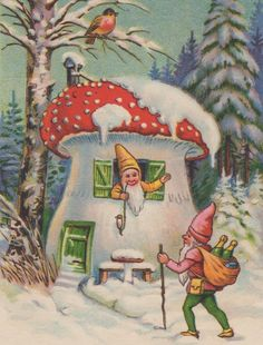 Welcome to Mushroom House, Vintage Gnome Image, Postcard, Digital . Gnome Images, Gnome Pictures, Vintage Cards, Vintage Postcards, Elf Art, Mushroom House, Vintage Christmas Images, Scandinavian Christmas, Mushrooms