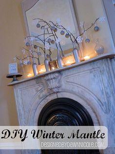 DIY Simple Winter Mantel