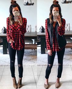 Casual Winter Outfits 2019 To Wear Everyday 31 Visit the post for more. Casual Winter Outfits 2019 To Wear Everyday 31 Besuchen Sie die Post [. Outfit Jeans, Plaid Shirt Outfits, Komplette Outfits, Fashion Outfits, Womens Fashion, Jean Outfits, Red Flannel Outfit, Work Outfits, Black Vest Outfit