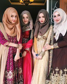 All of them look super beautiful❤️ Bridal Hijab, Hijab Bride, Wedding Hijab, Wedding Wear, Hijab Style Dress, Hijab Chic, Hijab Outfit, Muslim Fashion, Hijab Fashion