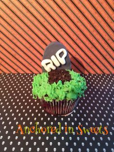 """Halloween Grave Cupcake--fondant topper with Oreo """"dirt,"""" buttercream frosting and chocolate cake. -Anchored in Sweets"""