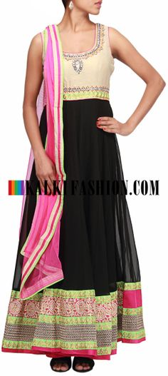 Buy Online from the link below. We ship worldwide (Free Shipping over US$100)  http://www.kalkifashion.com/black-anarkali-suit-featuring-with-embroidered-neckline-in-kundan-only-on-kalki.html Black anarkali suit featuring with embroidered neckline in kundan only on Kalki