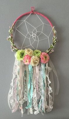 DIY floral dream catcher for little baby girls room, baby nursery