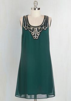 Idea on Arrival Dress in Teal - Woven, Green, Gold, Solid, Beads, Party, Holiday Party, Shift, Tank top (2 thick straps), Good, Scoop, Mid-length