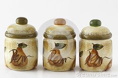 Photo about Tree artigianale porcelain containers for spices sugar salt pepper or coffee on white background. Image of containers, spices, pepper - 57355693