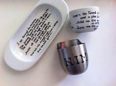 The devil wears Prada French Coffee and Milk Set French Coffee, Ville Valo, Devil Wears Prada, Lyrics, Milk, Quote, Tableware, Etsy, Blue Prints