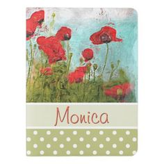 #monogrammed - #Cute Classic Poppy Flowers Meadow Field Watercolor Extra Large Moleskine Notebook