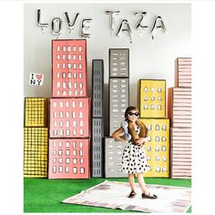Cardboard boxes turned NYC skylines. Another peek of the @letsplayground and @taza collab. Isn't sweet little O too cute? That girl has sass! #larsstyles #lptaza Pc: @jessicasphoto