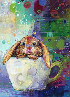 A bunny in a teacup.  Available as cards and prints!
