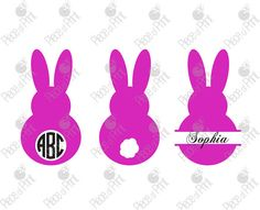 Easter Bunny SVG cut files Circle and Split by pieceofprint