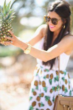 Don't focus on the pineapple, focus on the little skirt she's got on;)