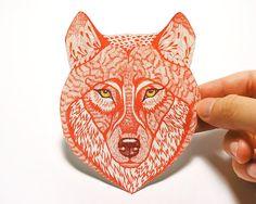 Red Wolf Face wild animal sticker 100 waterproof vinyl by TevaKiwi, $7.50