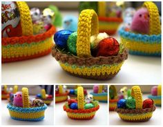 "Crochet pattern ""Dekokörbchen"" Material: wool remnants crochet hook No. 2 or 3 sewing needles Abbreviations: fm- solid stitch Hstb- half double crochet Stb- double crochet lm-air mesh km- Kettmasc Crochet Easter, Easter Crochet Patterns, Crochet Basket Pattern, Holiday Crochet, Crochet Patterns For Beginners, Crochet Baskets, Scrap Crochet, Crochet Crafts, Easy Crochet"