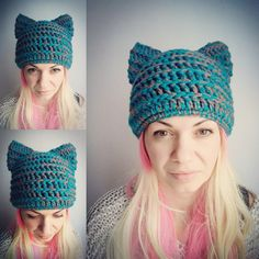 Teal Cat Hat Brown Pussy Hat Cat Crochet Hat by StreetStyleKnits