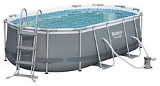Bestway Power Steel Frame Pool Set, oval, grau, 424 x 250 x 100 cm Above Ground Swimming Pools, Above Ground Pool, In Ground Pools, Lock System, Oberirdische Pools, Solar Cover, Intex Pool, En Stock, Swimming