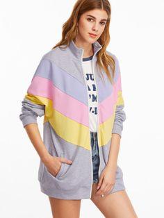 Color Block Zip Up Cut And Sew Chevron Sweatshirt