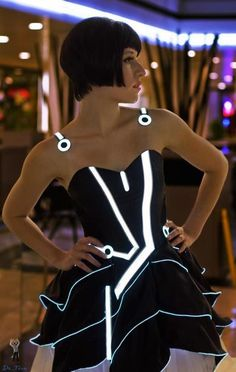 Tron Prom Dress... I want this as a peacoat.... or maybe a black bomber jacket.... yeah.... OH YEAH