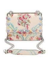 Fendi Kan I Mini Aubusson-Print Chain Shoulder Bag, Beige