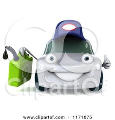 Clipart of a 3d Orange Porsche Car Wearing a Hat and Holding a Gas Can - Royalty Free CGI Illustration by Julos