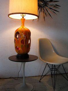 Mid Century Modern Orange Table Lamp  60s mad men lamp w interior light Eames Era Lamp. $479.00, via Etsy.
