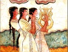 Statues & Busts :: Ancient Greek Wall Frescoes :: Minoan wall frescoes from the island of Crete :: Minoan Priestesses II