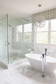 Check out this bathroom remodel we just completed! We used all the Ferguson Exclusives - Victoria + Albert Mozzano freestanding tub and Rohl Caswell collection for shower fixtures and freestanding tub fill.  Master Bath Remodel By Serendipite Designs www.serendipitedesigns.com   Photographed by Melissa Brandman photography, Ferguson sales Consultant Sasha Araiza