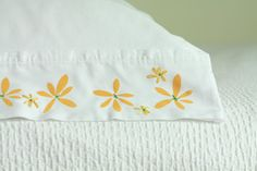 tutorial on decorating pillow cases - mixing fabric painted stencils and embroidery - pretty