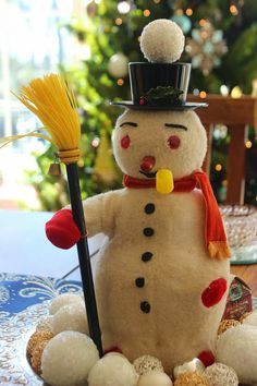 Retro Frosty Snow Man ~ via Italian Girl in Georgia: Christmas In My Home