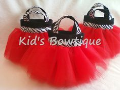 Set of 6 Red Diva Zebra Party Favor Tutu Bags - Birthday Gift Bags