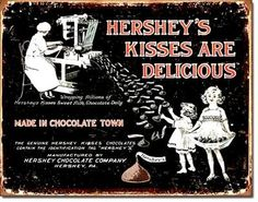 Hershey's Kisses Metal Tin Ad Sign RS9671 | eBay